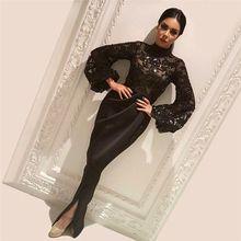 a0562ab90 Moda árabe saudita diseño negro de noche con lentejuelas Vestido de manga  larga cuello Formal muselina