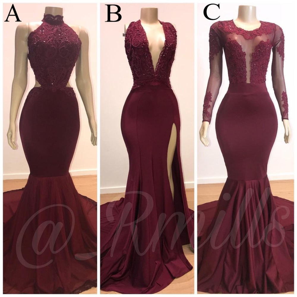 Reflective   Dress   Mermaid African Burgundy   Prom     Dresses   Long 2019 Lace Appliqued Evening   Dress   Formal Party Gowns