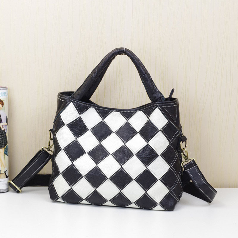 Überprüfen Farbe Kontrast Mode Weibliche Rindsleder 2019 colorful Weiblichen Beutel And Leder Bunte black White Black Handtasche Typ Eimer wxfXwqg8