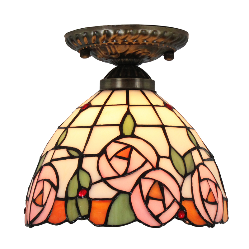 8 inch 20cm rose stained glass tiffany style ceiling lamp surface 8 inch 20cm rose stained glass tiffany style ceiling lamp surface flush mount ceiling light indoor decorative lighting fixture in ceiling lights from lights aloadofball Choice Image