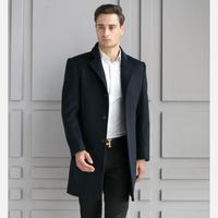 Black Plus Size Single Breasted Long Men S Wool Blend Coats 2017 Business Casual Winter Jacket