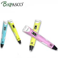 BAPASCO 3d Pen 2nd Gen. 3D Magic Pen LED Temperature Display Screen Add Free ABS/PLA Filament Kids' Best DIY Gift Freeshipping