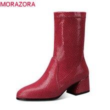 MORAZORA 2020 גודל 34 43 עור אמיתי קרסול מגפי נשים בוהן עגול סתיו חורף מגפי מוצק צבעים אופנה נעלי אישה