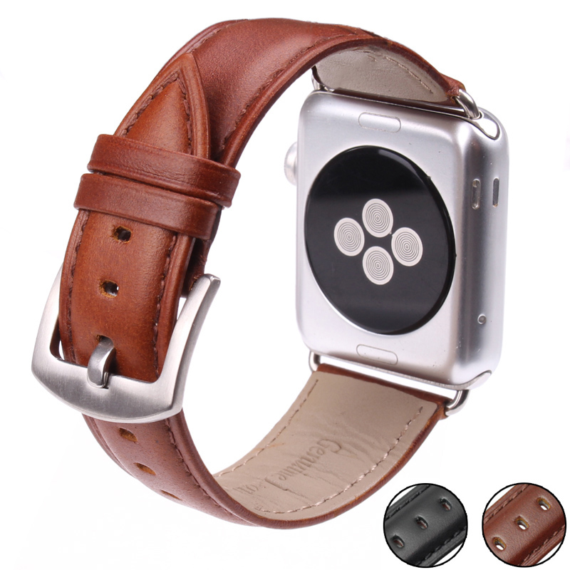 Smooth Genuine Leather Watchband For Iwatch Apple Watch 38mm 42mm Series 1 & 2 Wrist Band Strap Buckle Watches Accessories kakapi crocodile skin genuine leather watchband with connector for apple watch 38mm series 2 series 1 pink