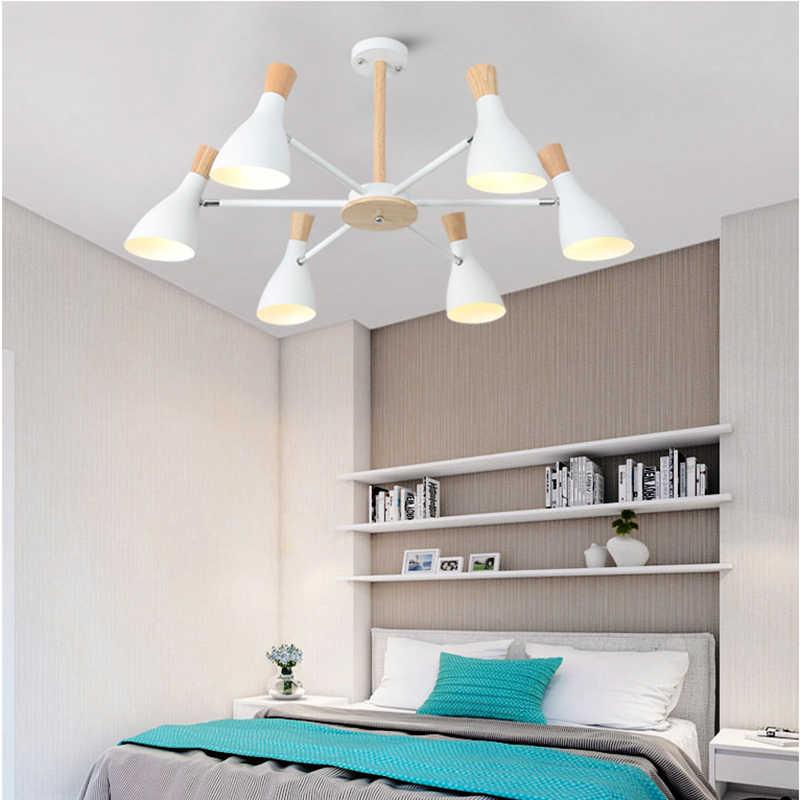 Скандинавская Простая Современная твердая древесина E27 led 220 В алюминиевая Люстра для гостиной, спальни, кабинета, креативная спальня
