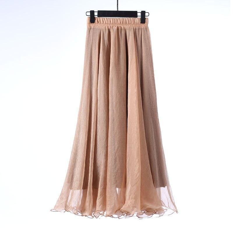 Sherhure 19 High Waist Women Chiffon Long Skirts Floor Length Ruffles White Summer Boho Maxi Skirt Saia Longa Faldas 45
