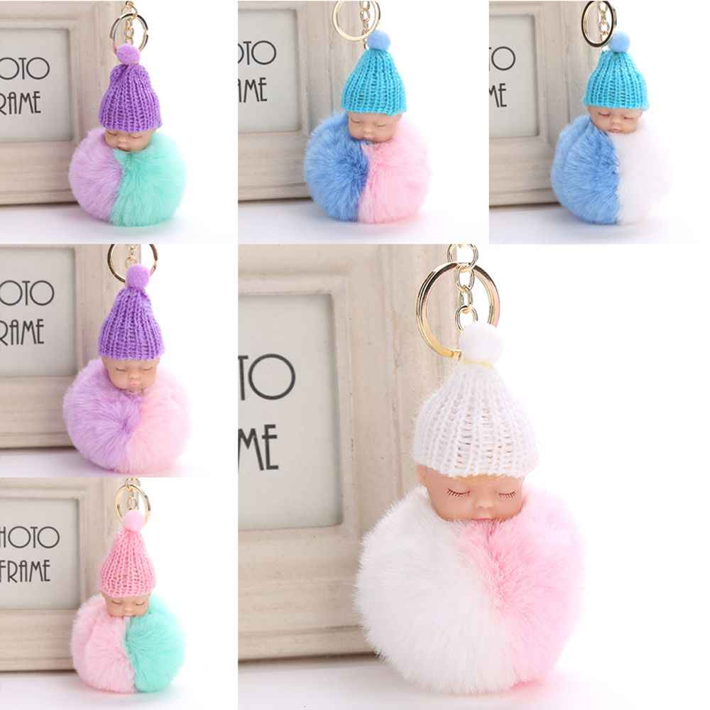 62a5e4fd53 ... Fluffy Sleeping Baby Doll Keychain Pompom Faux Rabbit Fur Ball Key  Chains Car Keyring Women Key ...