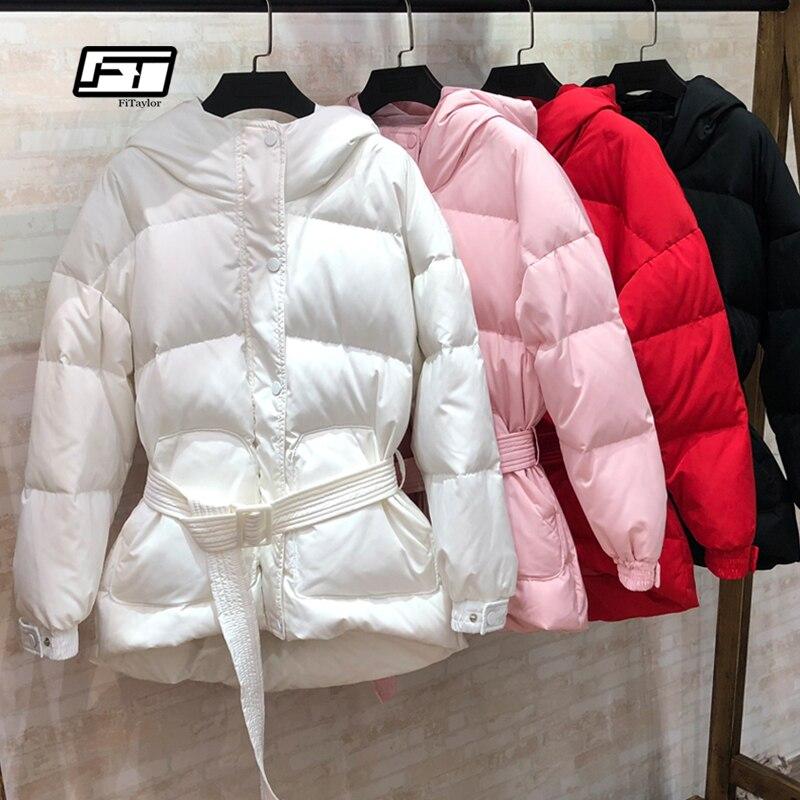 Fitaylor ультра легкие пуховики женские зимние тонкие с капюшоном пуховики парки с поясом Черный Розовый Красный Зимняя верхняя одежда
