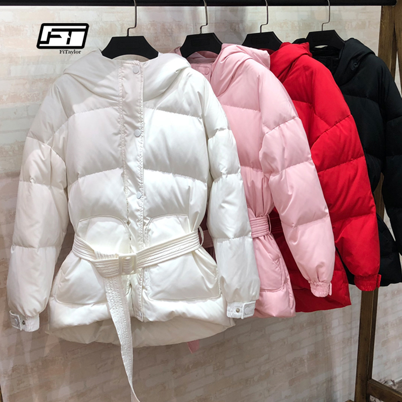 Fitaylor Ultra Light Down Jackets Women Winter Slim Hooded Duck Down Coats Parkas With Belt Black Pink Red Snow Outwear