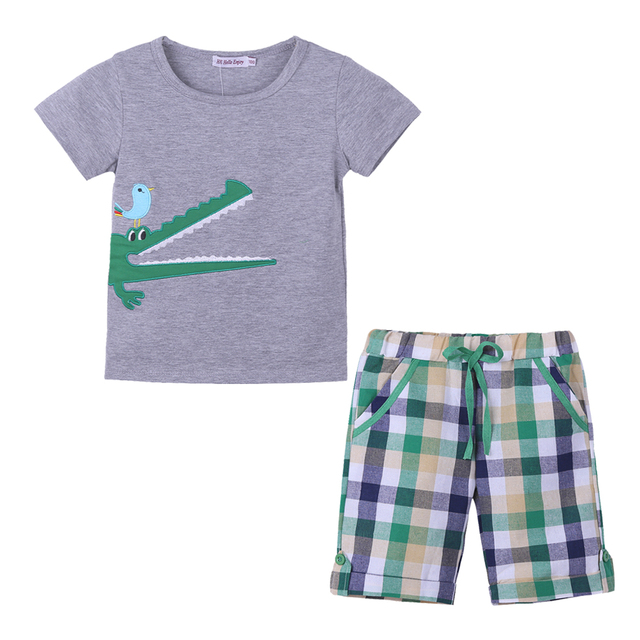 c2874438a Baby Boys Sets Kids Clothes Embroidered Short Sleeve T shirt + Colorful  Plaid Shorts 2PCS Set 2018 Summer Children Clothing. Price: