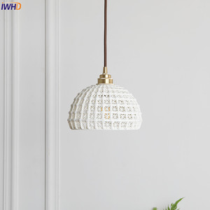 Image 3 - IWHD Japanese Nordic Style Modern Pendant Lights Fixtures Dinning Living Room White ceramics Hanging Lamp Lamparas Vintage