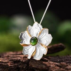 Image 2 - Lotos zabawy prawdziwe 925 srebro naturalne turmalin Handmade Fine Jewelry piwonia wisiorek kwiat bez naszyjnik dla kobiet