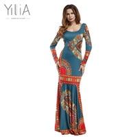 Yilia 2017 Summer African Print Pencil Bodycon Long Maxi Dresses Women Mermaid Sleeveless O Neck Casual Beach Elegant