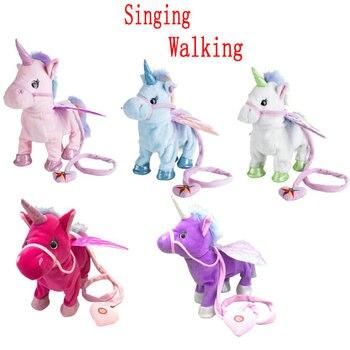 Dos estilos eléctrico caminar unicornio peluche suave Animal peluche electrónico unicornio muñeca cantar la canción para regalos de cumpleaños de bebé