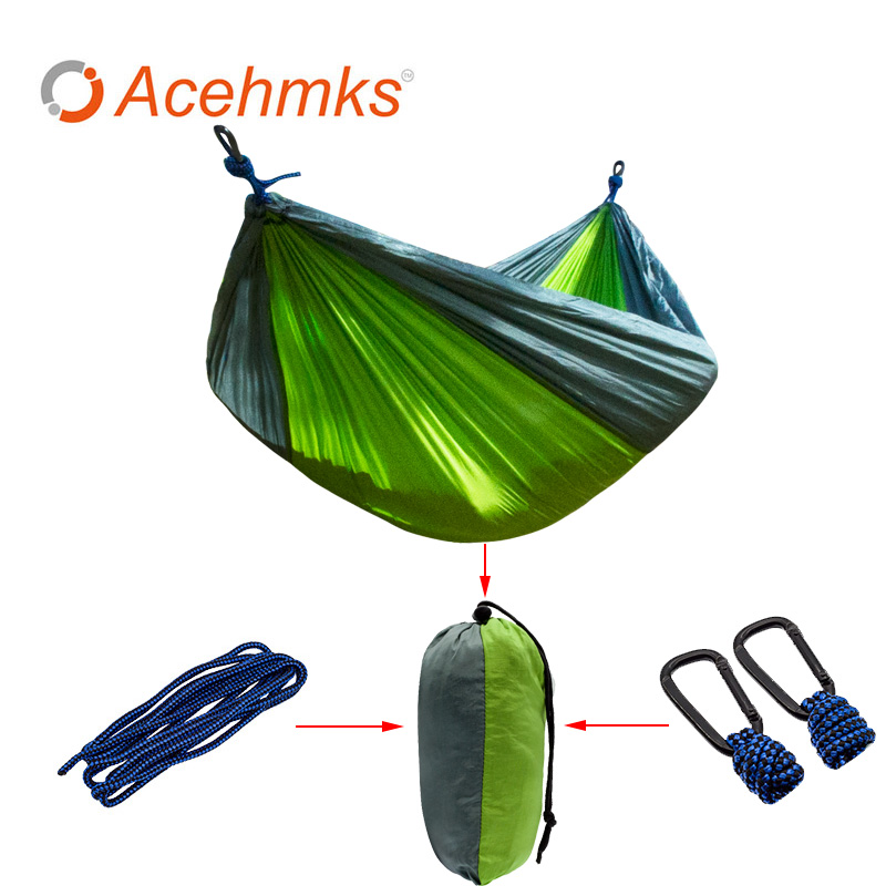 2 Person Portable Nylon Parachute Double Hammock Garden Outdoor Camping Travel Furniture Survival Hammock Swing Sleeping Bed sgodde assorted color hanging sleeping bed parachute nylon fabric outdoor camping hammocks double person portable hammock