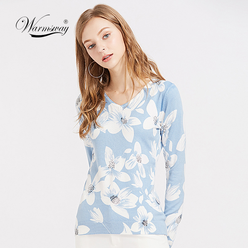 Dropshipping Winter Women Fashion Pullover Sweater V-neck Long Sleeve Elastic Floral Print Fitted Knitted Top Jumper B-067