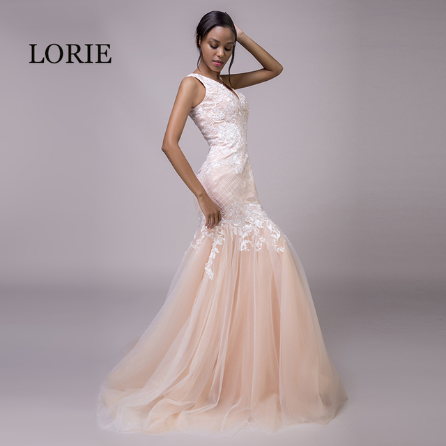 LORIE Mermaid Coral Plus Size Wedding Dresses V Neck Wedding Gown ...