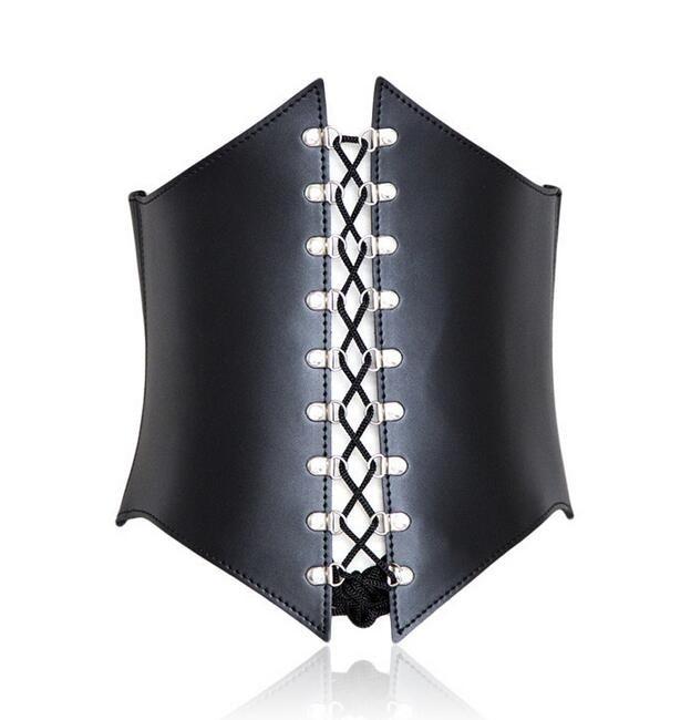 New Party Women Black Extra Wide Corset Tie High Waist Slimming Cinch Belt S M