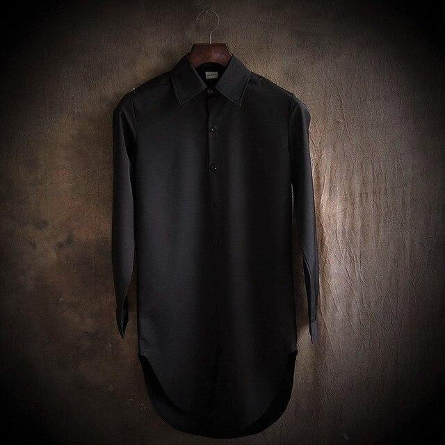 В 2015 году мода досуга человек с длинным рукавом Культивировать нравственность чистый цвет долго clothesHem дуги рубашка Длинный белый рубашка
