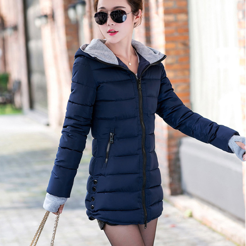 4XL Plus Size Wadded Clothing Female 2018 New Women's Winter Jacket Cotton Jacket Slim Hooded Parkas Ladies Coats
