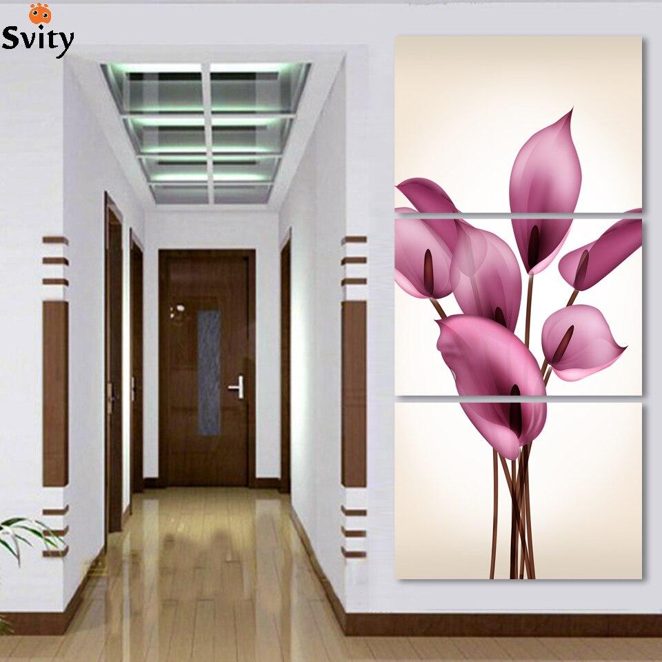 hermoso lirio flores impreso en la lona para la puerta de entrada paneles decorativos