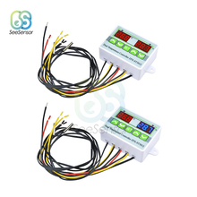 цена на AC 220V 12V 24V Digital LED Dual Thermometer Temperature Controller Thermostat NTC Sensor Probe for Incubator Cooling Heating