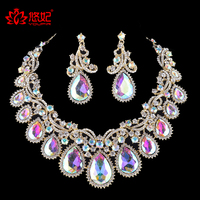 High Quality Gorgeous AB Glass Jewelry Sets For Bridal Wedding Party Necklace And Earrings Set