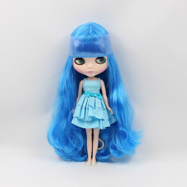 Синие волосы Блит Кукла Длинные волосы с Bang 1/6 BJD большой головой Блит куклы DIY игрушка