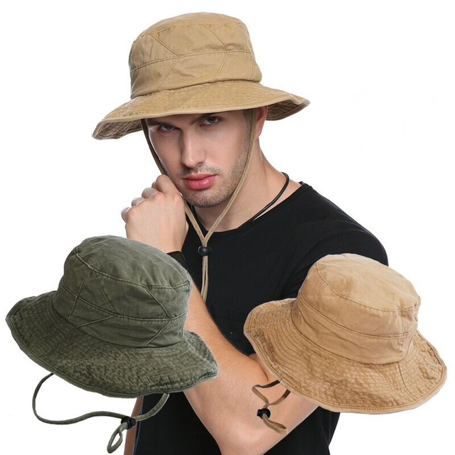 f05e8d3f7e9 100% Cotton Men s Summer Bucket Hats Outdoor Fishing Wide Brim Hat UV  Protection Cap Men Hiking Sombrero Gorro sun Hat for men
