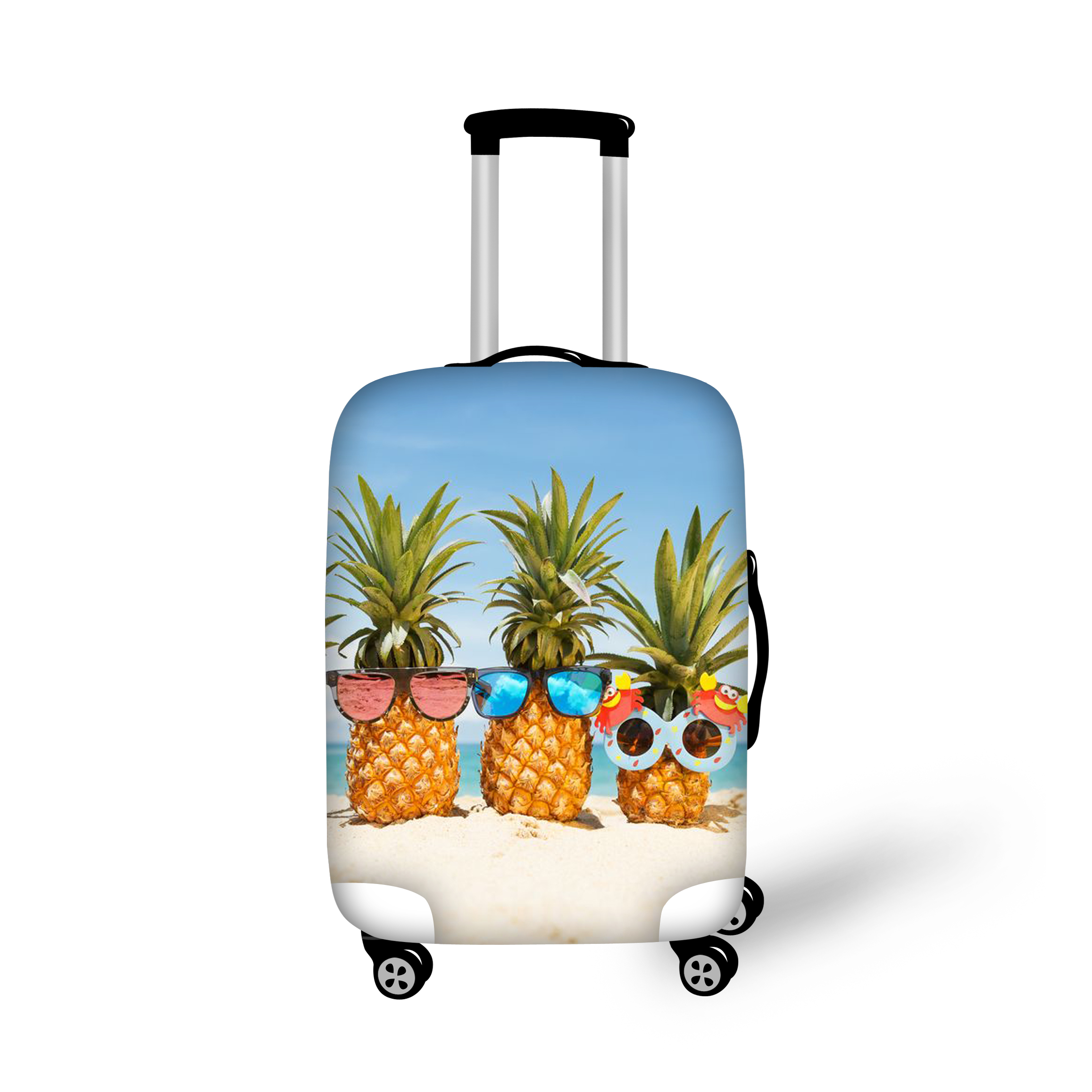 ELVISWORDS Summer Style Travel Accessories Pineapple Print Protective Luggage Cover For 18-30 Inch Case Elastic Suitcase Covers
