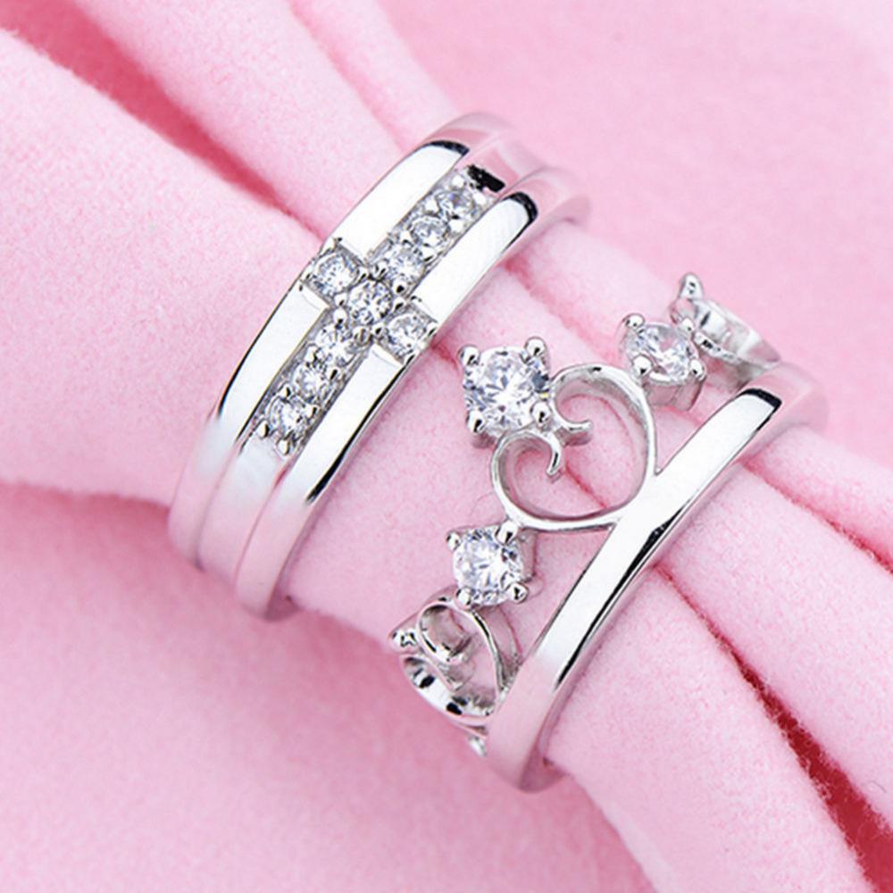 2PCS Fashion Silver Plated Prince Princess Crown Crystal Zircon ...