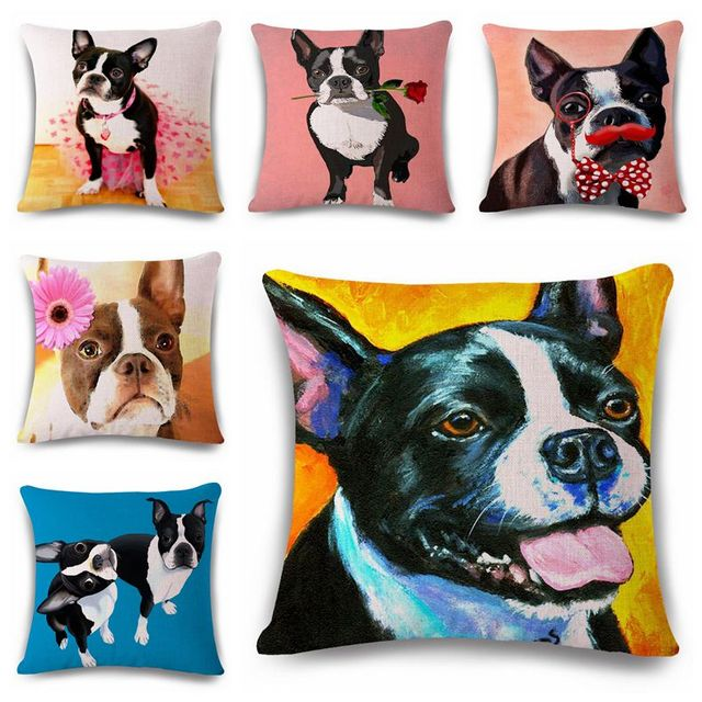 Kawaii Pugs Cushion Cover Boston Terrier Decorative Pillows Case Awesome Boston Terrier Decorative Pillow