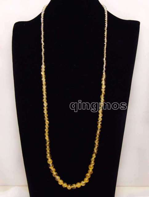 Long 33'' 4-8mm Round Natural Yellow Crystal Necklace-nec6178  Wholesale/retail Free shipping