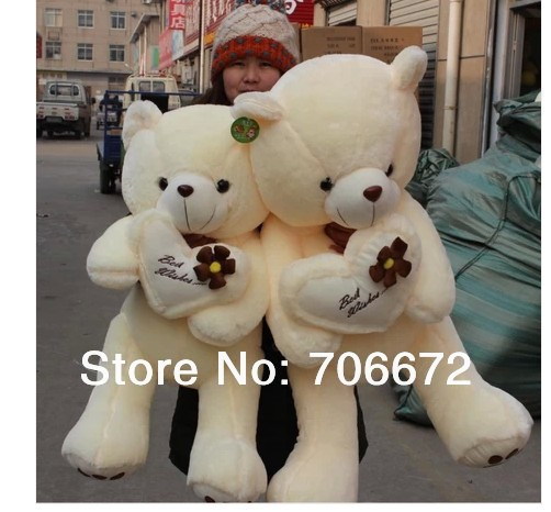 stuffed bear beige  best wishes teddy bear Plush toy 100 cm Doll 39 inch Toy hug pillow Xmas gift wb8011 stuffed animal 44 cm plush standing cow toy simulation dairy cattle doll great gift w501