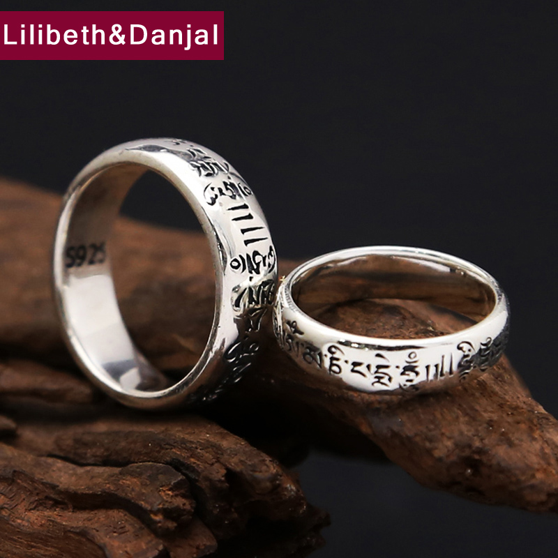 925 Sterling Silver Ring Men Jewelry Couple Tibetan Text Mantra Engagement Ring  Gift Vintage Fine Jewelry R8