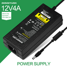 1pcs New 12V4A AC 100V-240V Converter Adapter DC 12V 4A 48W Power Supply DC 5.5mm x 2.5mm for 5050/3528 LED Light LCD Monitor