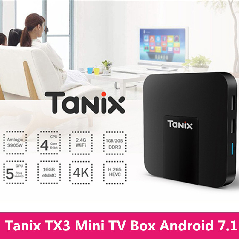 Tanix TX3 Mini TV Box Android 7.1 Amlogic S905W Quad Core 2.4GHz WiFi 2GB RAM 4K HD H.265 Smart Media Player Set-top Box 5pcs android tv box tvip 410 412 box amlogic quad core 4gb android linux dual os smart tv box support h 265 airplay dlna 250 254