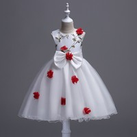Free Shipping Girls Kids Lace Ball Gown Dress Sleeveless Dresses Princess Wedding Party Formal Flowee Lace