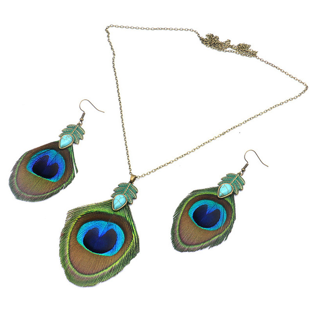 Jewelry Set Retro Peacock...