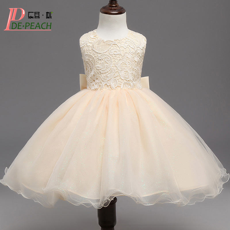 DE PEACH Vestido Children Clothes Backless Bow Baby Girls Dress Lace Flower Princess Kids Formal Wedding Party Dresses Christmas