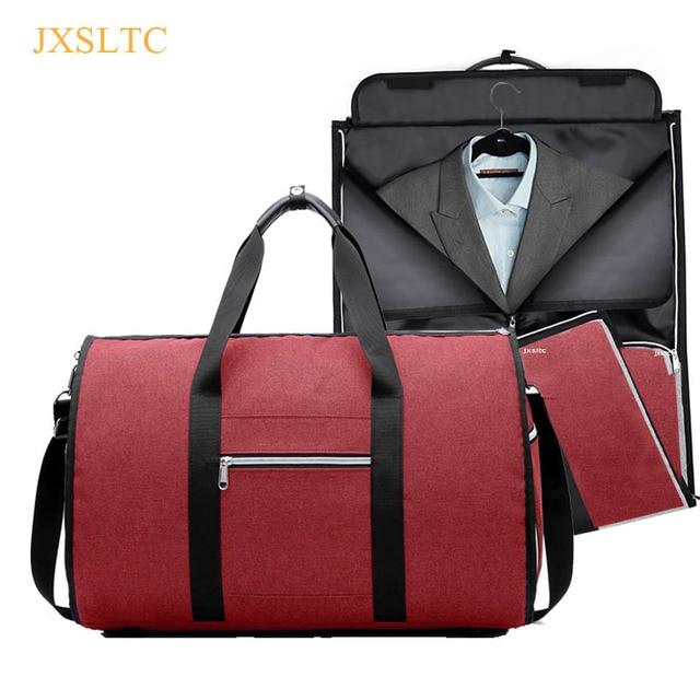 Homens viajam sacos JXSLTC para suit Dobrável Impermeável sacos de bagagem de mão duffle viagens de negócios saco 5 estrelas bagagem fim de semana saco
