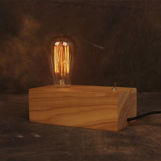 Vintage Art Table Lamp American Style Industrial Edison Lamps Wood Decoration RH Loft Bar Coffee Kitchen Lighting For Home plywood