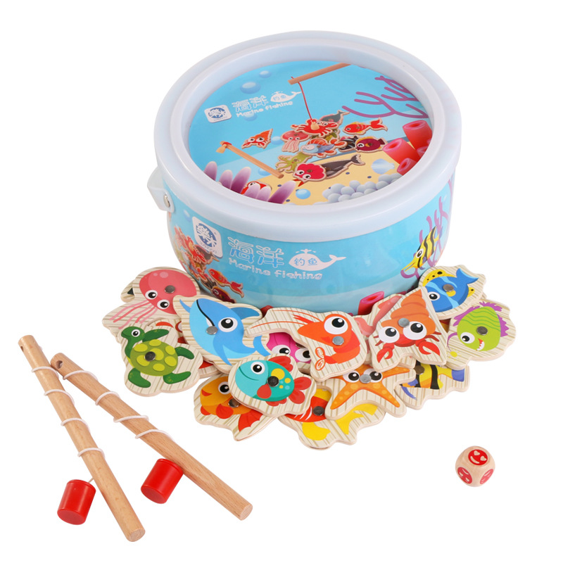 Baby Chinese Educational Wooden Children Toy Fishing Set Marine Biological Congnition Ma ...