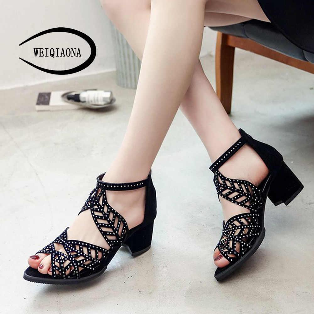 WEIQIAONA หนา rhinestone ผู้หญิงรองเท้าแตะรองเท้าส้นสูงหญิงฤดูร้อนปลาปากรองเท้าโรมัน