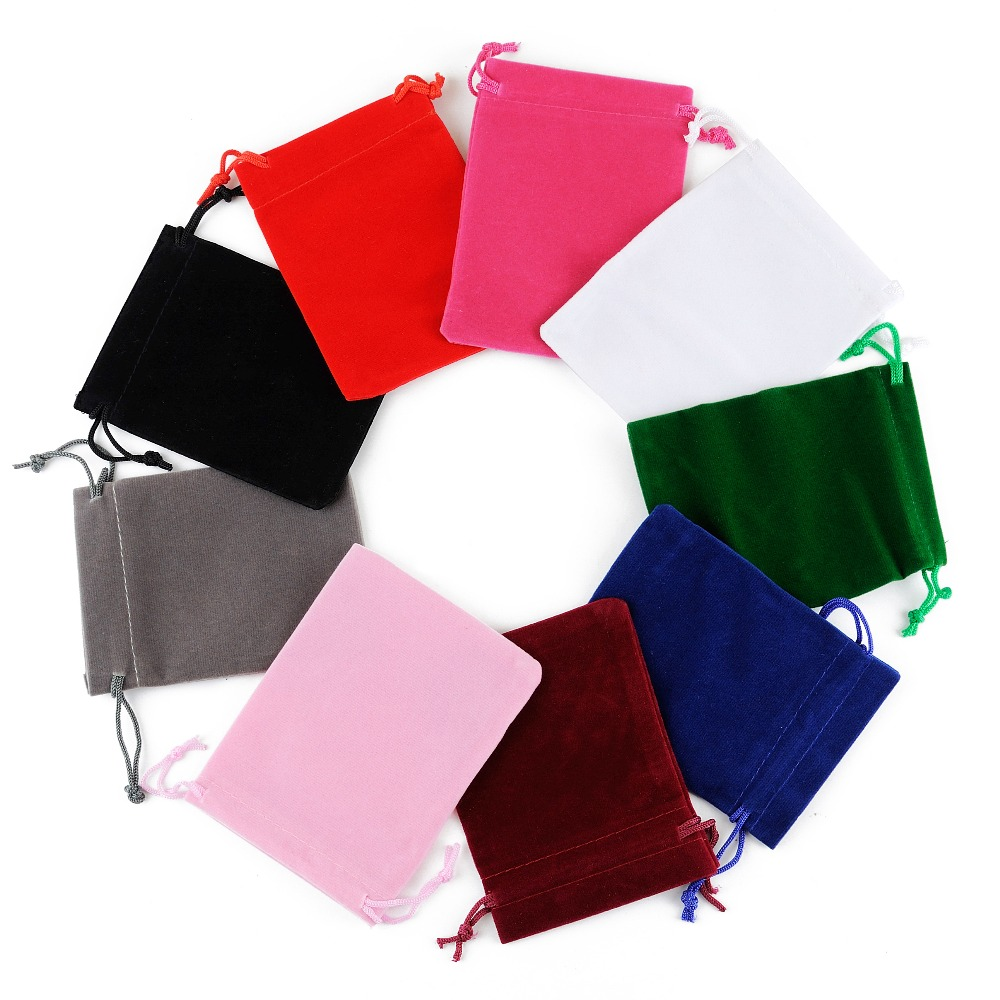 50 pçs 5x7 saco de veludo drawstrings malotes tamanho pequeno jóias presente exibir sacos de embalagem