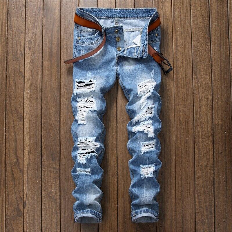 Men Summer Light Blue Denim Jeans Straight Holes Long Jeans New Men Lightweight Jeans High Quality Men Cotton Casual Jean Pants