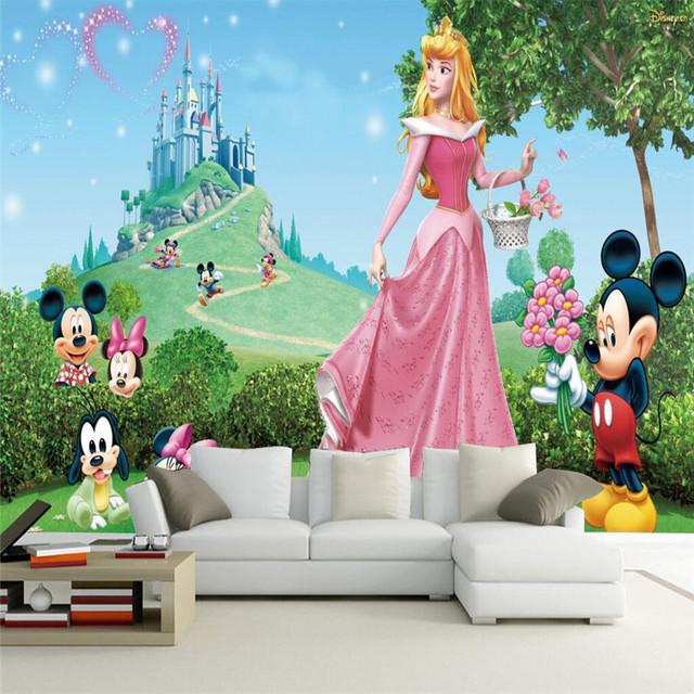 Murals Wallpaper Castle Of The Fairy Tale World Cartoon Characters Girl Princess Room Kindergarten Large Wall