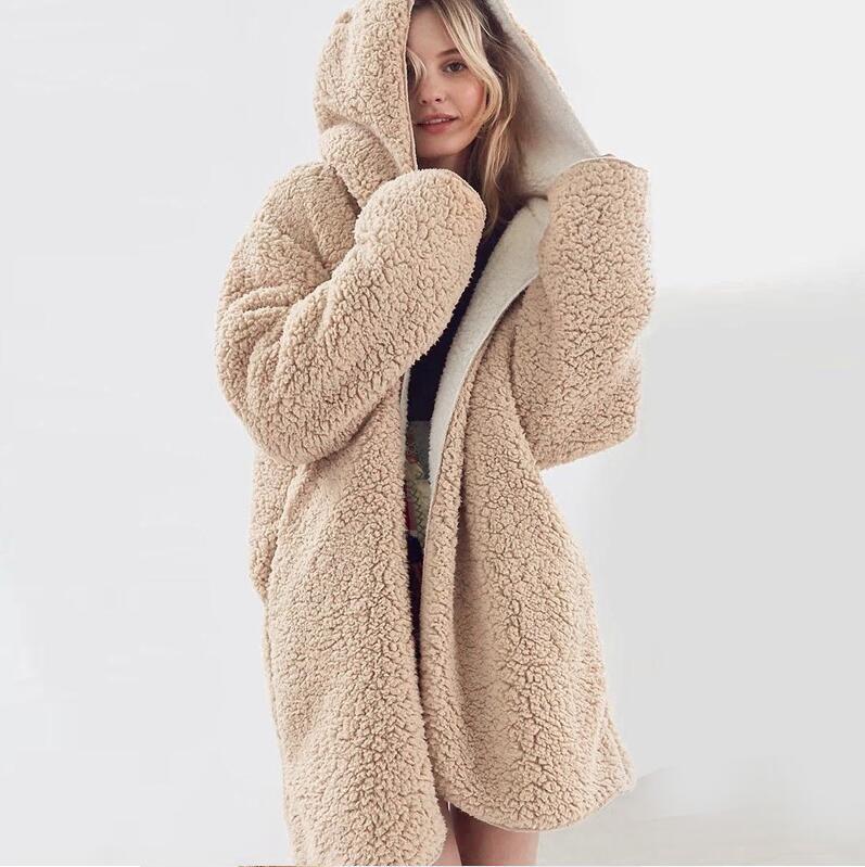 جديد 2018 ربيع الخريف المرأة هوديس بلوزات الصوف مقنع كم طويل ثخن الستر المرأة شتاء دافئ سترة sudaderas-في السترات الأساسية من ملابس نسائية على  مجموعة 1