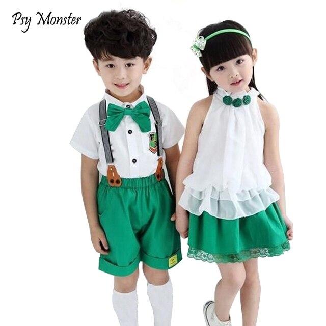 a5c127fc77 Kids Summer School Uniform Class Suit Bow T-shirt Skirt Bib Pants 2pcs Baby Boy  Girl Choral Uniforms Children Clothing Set C001