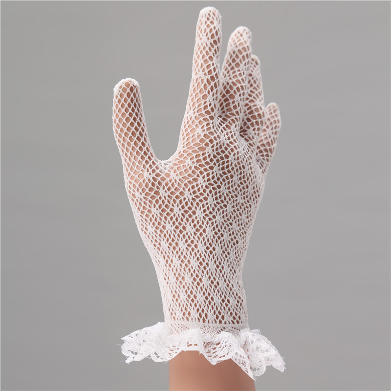 Elegant White Lace Short Finger Wrist Wedding Gloves